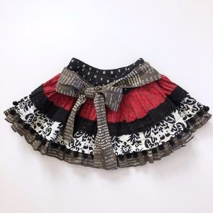 Girls Mustard Pie Black Damask Red Skirt  24M